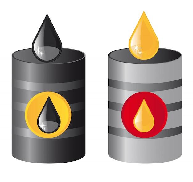 Barriles de petróleo metálicos con gotas de lluvia vector illustration