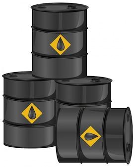 Barriles de petróleo negro con signo de crudo aislado sobre fondo blanco.