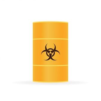 Barriles de residuos de riesgo biológico, residuos radiactivos en blanco.