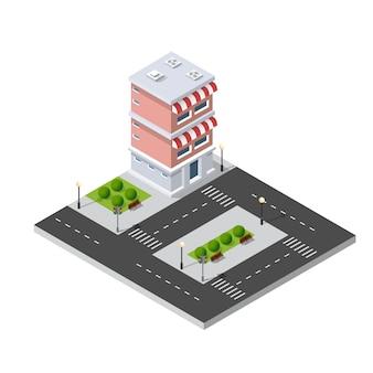 Barrio de la ciudad calle casas isométricas.