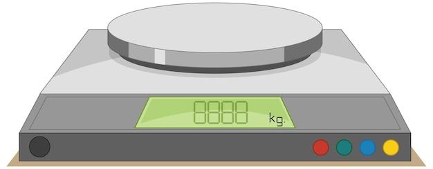 Báscula digital sobre un fondo blanco.