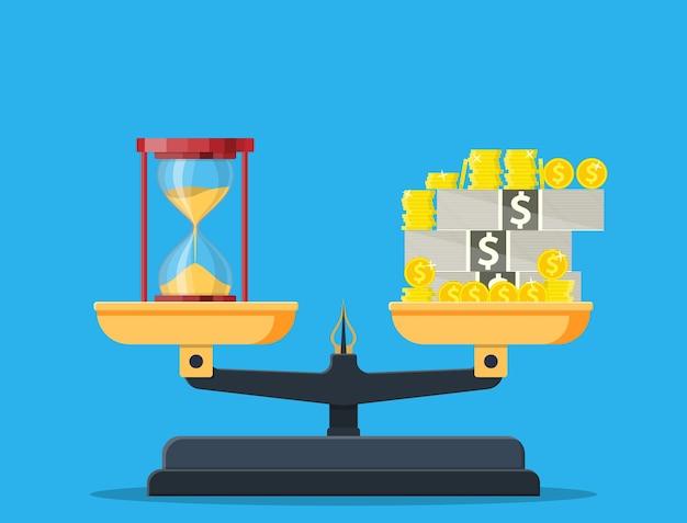 Báscula pesando dinero y relojes de arena. el tiempo es dinero, concepto financiero