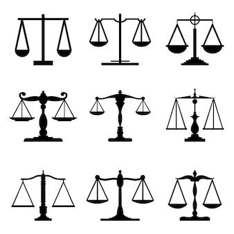 Básculas de balanzas mecánicas vintage iconos de jueces iguales equitativas