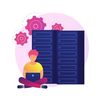 Base de datos, almacenamiento y organización de información digital. personaje de dibujos animados de trabajador de soporte técnico. optimización seo, hardware informático
