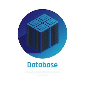 Base de datos azul redonda que muestra los bastidores de hardware de la estación de almacenamiento en la sala de servidores