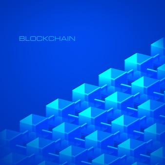 Base de datos de cadena de bloques del concepto de tecnología blockchain