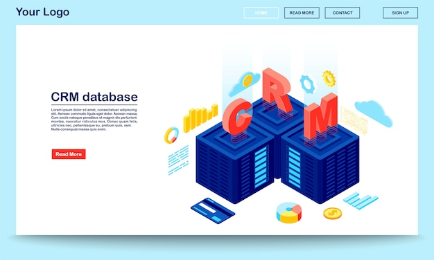 Base de datos crm y plantilla de vector de página de aterrizaje isométrica del servidor