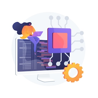 Base de datos en línea, disco en la nube. almacenamiento de datos, base de información, aplicación informática. usuario de pc, personaje de dibujos animados del operador. información en la pantalla del monitor. ilustración de metáfora de concepto aislado de vector.