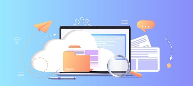 Base de datos con servidor en la nube análisis de datos de base de datos de clasificación de procesos de conjuntos de datos