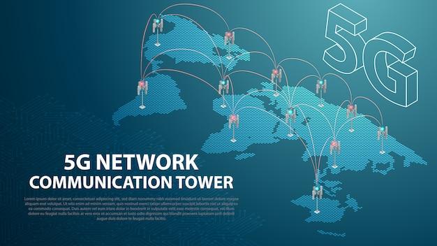 Base mobile 5g tecnología de red antena de comunicación torre fondo