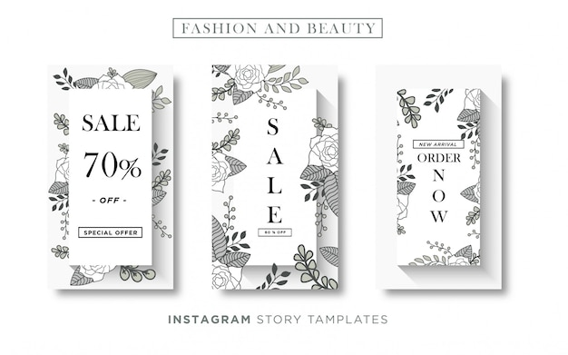 Básico rgb banner de moda y belleza floral redes sociales o plantilla de historia de instagram