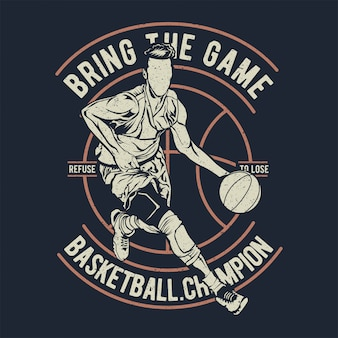 Basketball campeón trae el juego.