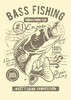 Bass fishing club, cartel de ilustración vintage.