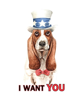 Basset hound perro acuarela con traje.