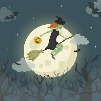 Bastante joven bruja en una escoba volando sobre el espeluznante bosque frente a la luna. vector ilustración de halloween