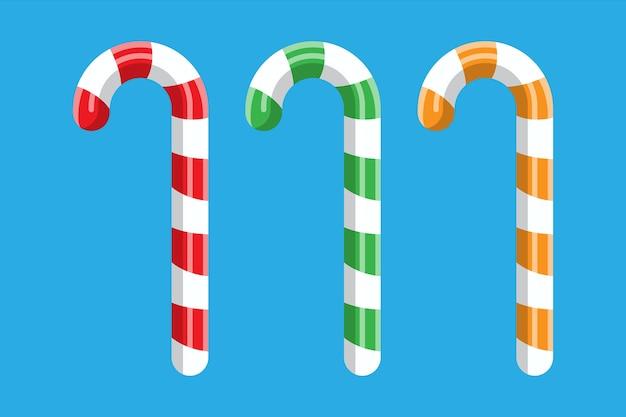 Bastón de caramelo. dulces navideños. palo de piruleta dulzura bastón de caramelo. feliz año nuevo decoración. feliz navidad. celebración de año nuevo y navidad.