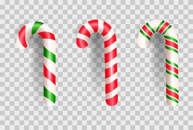 Bastón de caramelo de navidad realista.