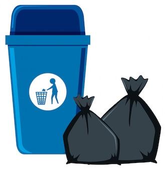 Basura aislada y bote de basura