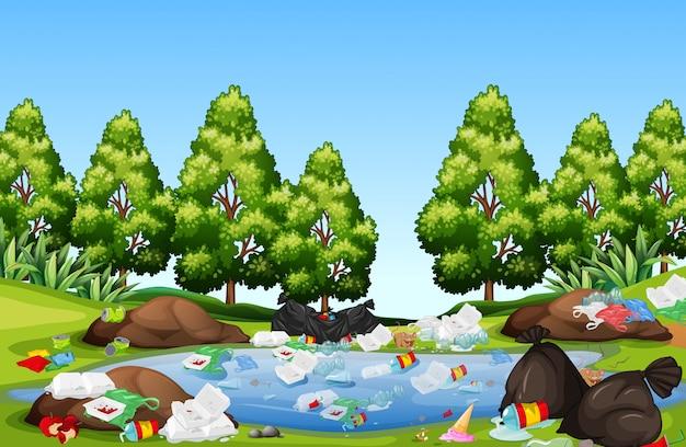 La basura en el paisaje de la naturaleza