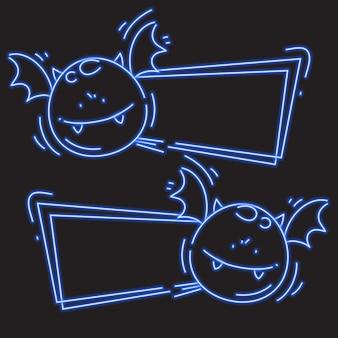 Bat monstruo en la bandera de neón azul