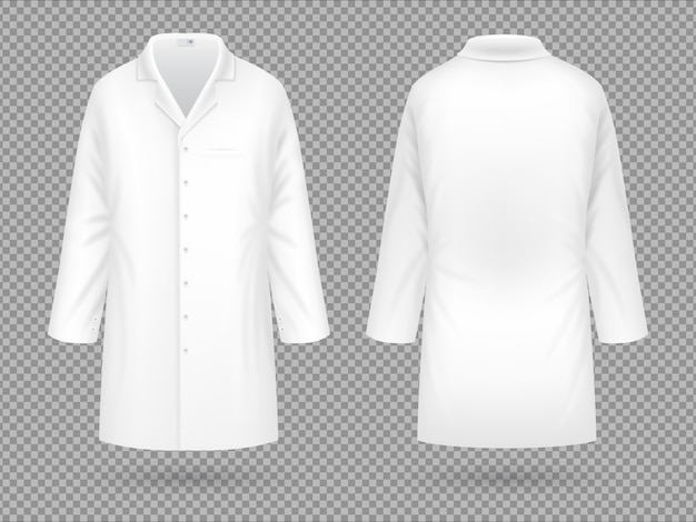 Bata blanca de laboratorio médico realista, traje profesional de hospital