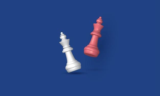 Batalla de ajedrez rey en un negocio de inspiración de concepto de estrategia empresarial de juego