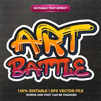 Batalla de arte graffiti arte estilo logo efecto de texto editable 3d