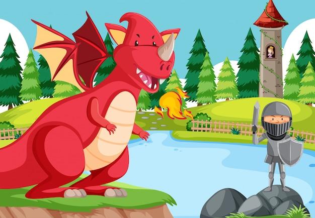 Una batalla de caballero con dragón.