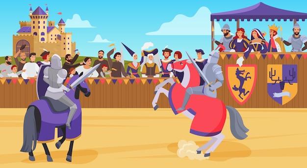 Batalla de caballeros medievales, héroe jinete luchando en el torneo del campo de batalla real