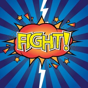 Batalla contra lucha letras comic burbuja con efecto