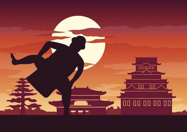 Batalla de hombre gordo de japón llamada sumo
