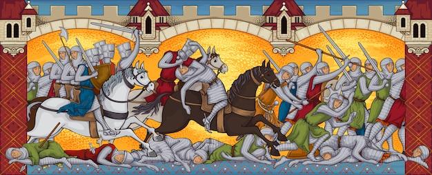 Batalla medieval, manuscrito antiguo, campo de batalla, ataque de caballeros, libro de estilo antiguo en miniatura.