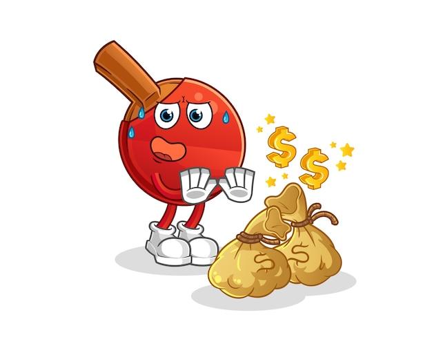 El bate de tenis de mesa rechaza la ilustración del dinero. personaje