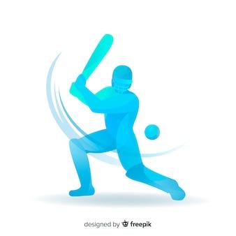 Bateador azul jugando al cricket