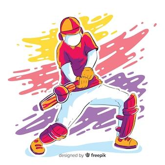 Bateador colorido jugando al cricket