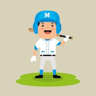 Bateador de jugador de béisbol de pie campo con bate