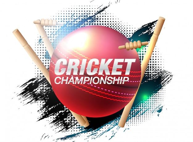 Bateador y jugador de bolos jugando campeonato de cricket deportes