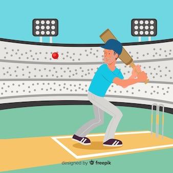 Bateador jugando al cricket en estadio