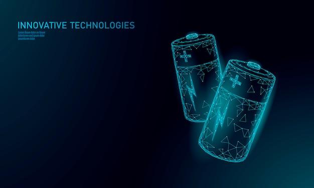 Batería alcalina poligonal completamente cargada. energía de almacenamiento de energía eléctrica de suministro recargable. azul brillante bajo polígono polígono espacio de partículas cielo oscuro industria tecnología concepto vector ilustración