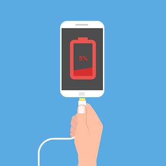 Batería baja del teléfono inteligente. ilustración de vector de estilo plano