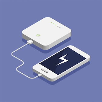 Batería baja. teléfono inteligente isométrico cargando con un banco de energía externo. ilustración de concepto de dispositivo de almacenamiento de base de datos.