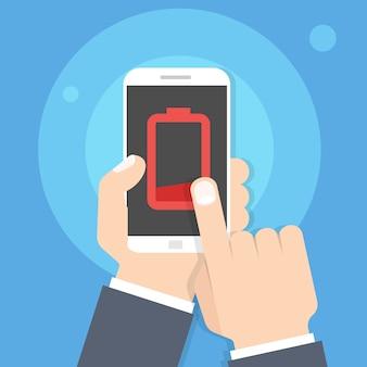 Batería baja del teléfono inteligente en la mano. ilustración de vector de estilo plano