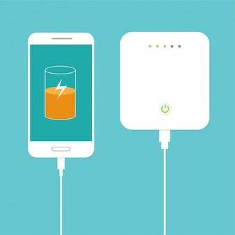 Batería casi llena. smartphone cargando con un banco de energía externo. concepto de dispositivo de almacenamiento de base de datos. diseño plano. ilustración.