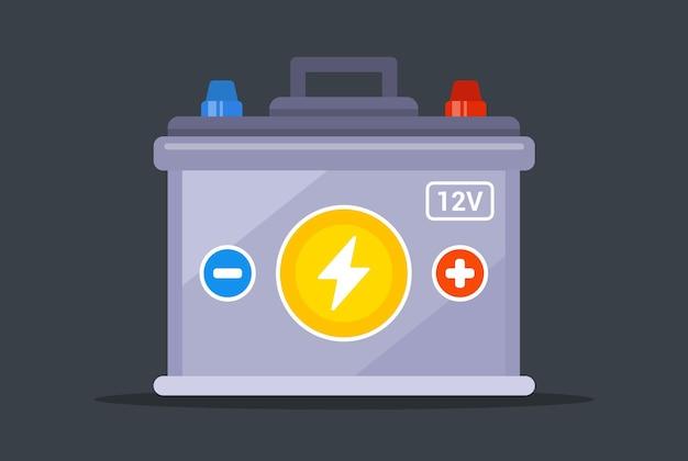 Batería de coche sobre un fondo blanco. ilustración vectorial plana.
