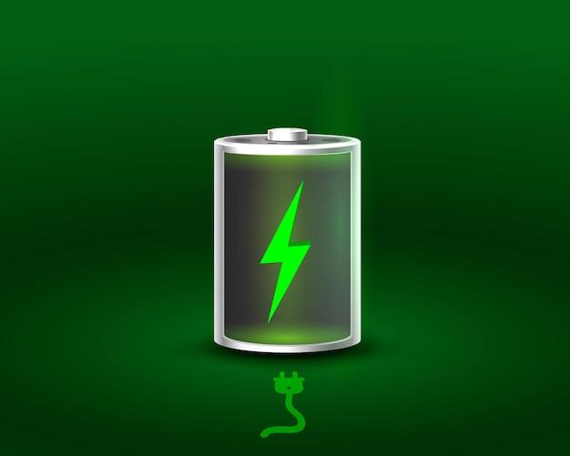Batería descargada y completamente cargada. ilustración vectorial. fondo blanco