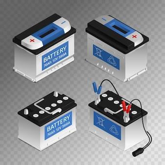 Batería recargable automotriz 4 piezas de automóvil conjunto isométrico aislado ilustración de fondo transparente
