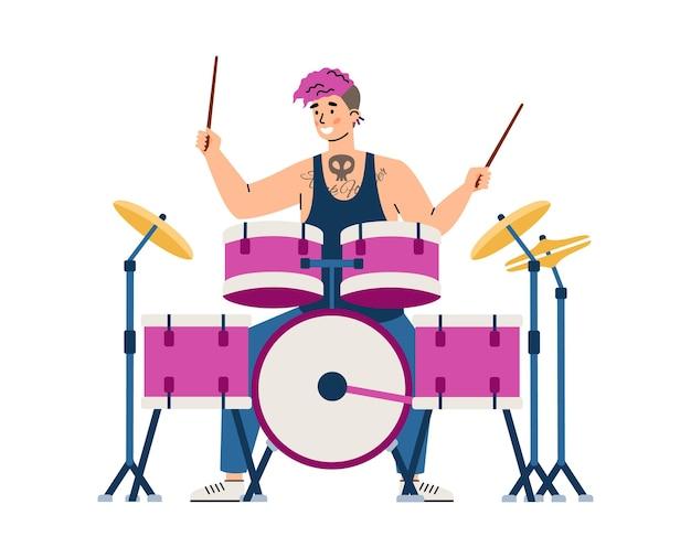 El baterista de la banda de rock tocando música en la ilustración de vector plano de tambores aislado