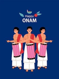 Bateristas indios tradicionales en el festival onam
