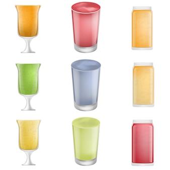 Batido batido conjunto de iconos de zumo de fruta. ilustración realidtic de 9 batidos batidos de frutas iconos de vectores de jugo para web