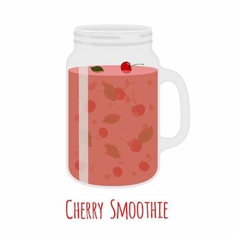 Batido de cerezas en tarro de albañil. vaso con bebida detox vegetariana.